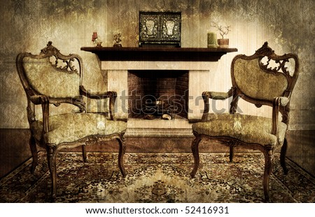 old style living room and chimney - stock photo