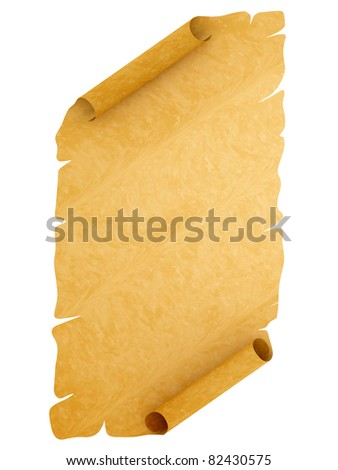 Old style manuscript with uneven edges disposed by vertical isolated on white background - stock photo
