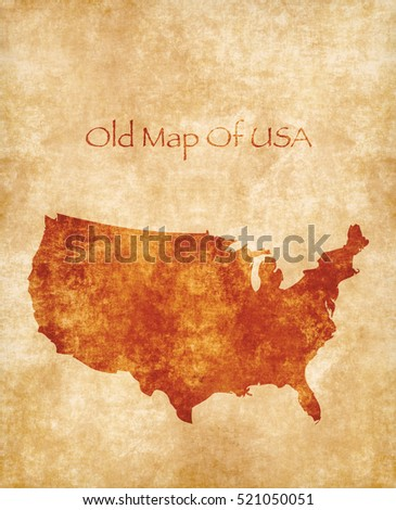 Engraving Style Vector Cloudy Background Place Stock Vector - Parchment paper map of us