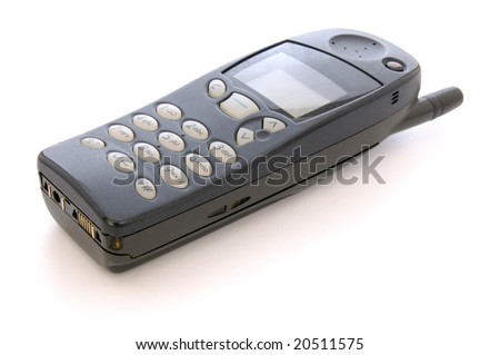 old style mobile phone cellphone handset on white background - stock photo