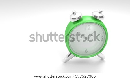 old style of analog clock with alarm bells in a low-poly 3D illustration on a bright background