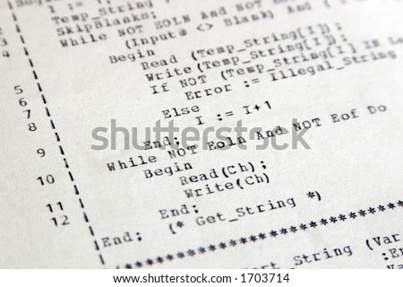 Old style Pascal computer code on a dot matrix printer