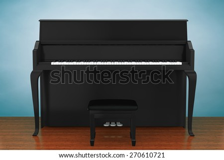 Old Style Photo. Black piano on the wooden floor - stock photo