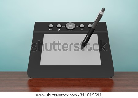 Old Style Photo. Digital Graphic Tablet with Pen on the table - stock photo