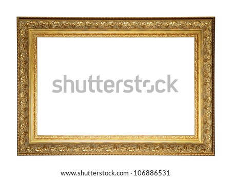 Old style photo frame over white background - stock photo