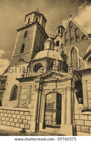 Old style photo of Cathedral at Wawel hill in Cracow. Poland
