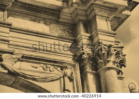 Old style photo of Classical Architectural Column. Royal Wawel Castle, Cracow. Poland - stock photo