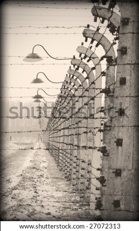 Old style photo of the Auschwitz camp - stock photo