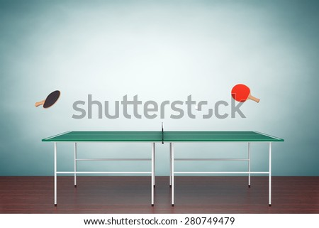 Old Style Photo. Ping-pong tennis table with Paddles on the floor  - stock photo