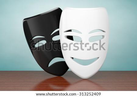 Old Style Photo. Tragicomic Theater Sad and Smile Masks on the table - stock photo