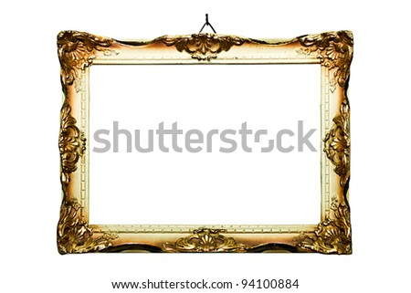 Old style picture frame (No#18), isolated on white background (detailed clipping paths included, nail can be easily removed) - stock photo