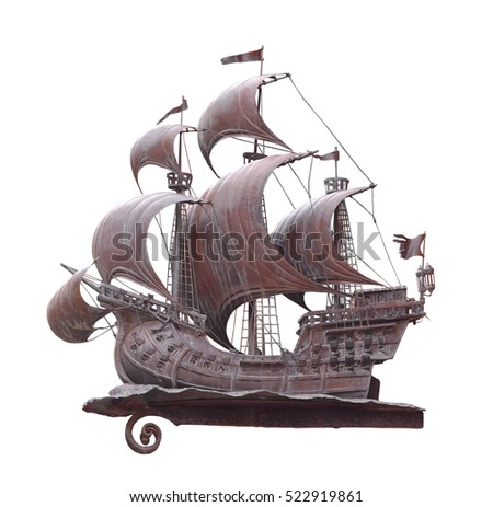 old style pirate ship isolated on white