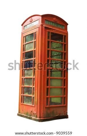 old style red British phone box - stock photo