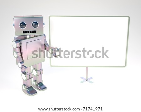 Old style robot at blank white board