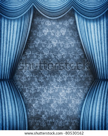 Old style room with blue curtains