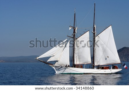 Old style sailing boat in Mediterranean sea