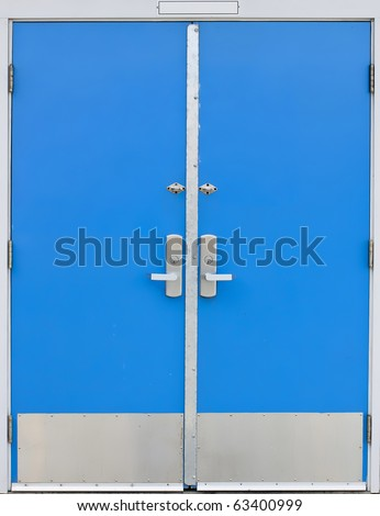 old style school door - blue isolated on a white background - stock photo