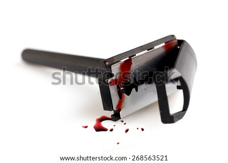 old style shaving blade on white background