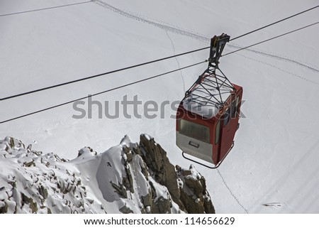 Old style small cable car in French Alps,Chamonix