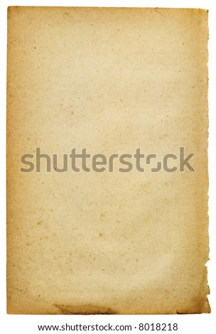 Old-style stained yellow paper. Image on white