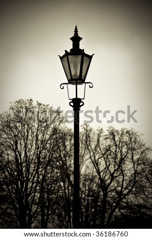 Old style street lantern with trees in background - stock photo