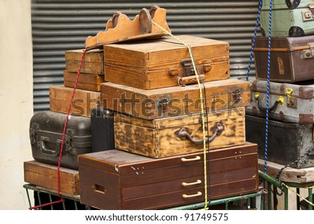 Old style suitcases outdoors - stock photo