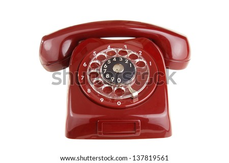Old style telephone , isolated on white - stock photo