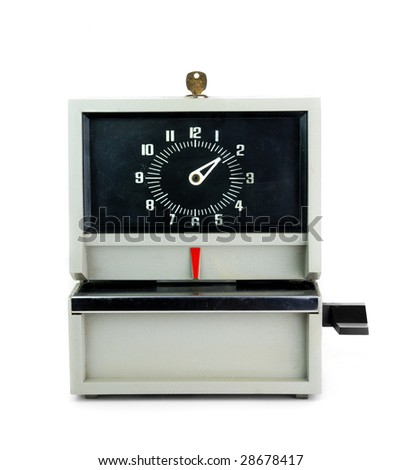 old style time clock - stock photo