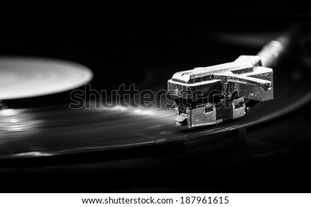 old style turntable with needle  - stock photo
