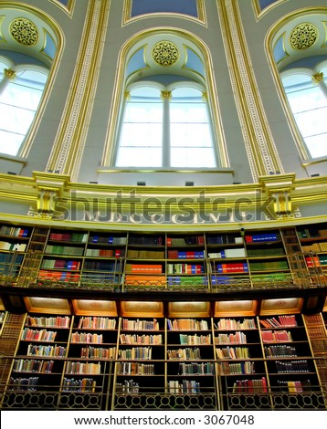 Old style Victorian library with big window - stock photo