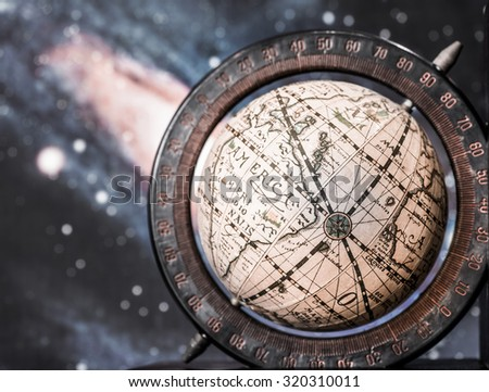 Old style world globe with a planet background. - stock photo