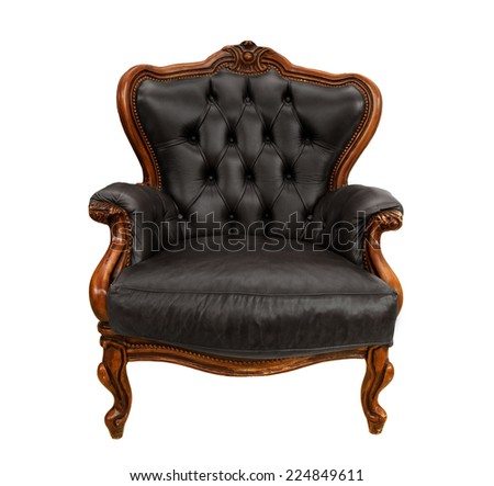 Old styled black vintage armchair isolated on white background - stock photo