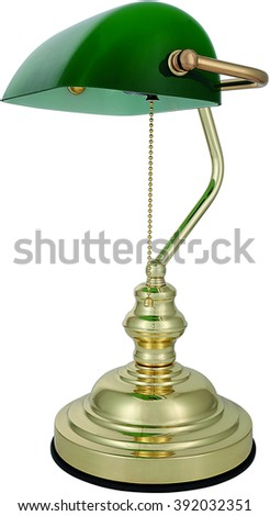 OLD STYLED GREEN BANK LAMP - stock photo