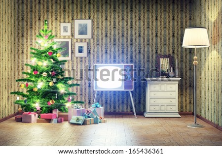 old styled interior with christmas tree and tv - stock photo