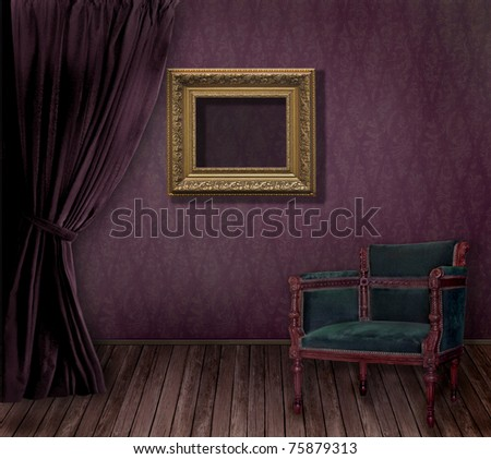 Old styled Interior with golden frame and armchair - stock photo