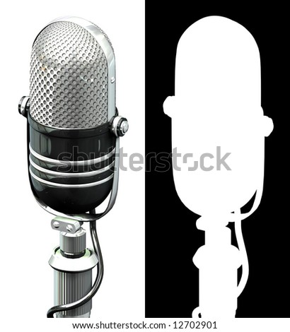 old styled microphone - stock photo