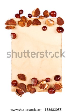 Old-styled notepaper with chestnut border, place for your text
