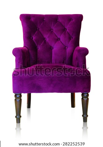 Old styled purple vintage armchair isolated on white background, clipping path. - stock photo