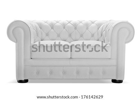 Old styled white leather sofa isolated on white background, studio shot, front view - stock photo