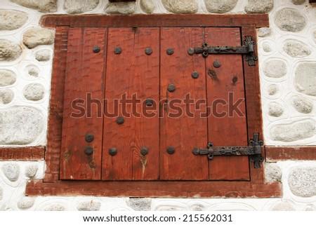 Old stylish window, wooden window, Bansko, Bulgaria - stock photo
