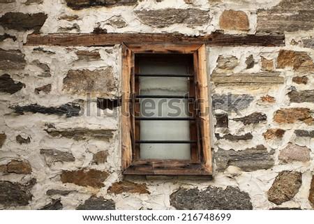 Old stylish window, wooden window,Shiroka laka, Bulgaria - stock photo
