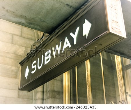 Old subway sign in New York City . - stock photo