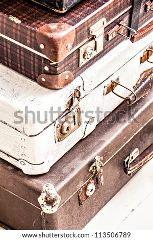 old suitcase combined one on another . photo - stock photo