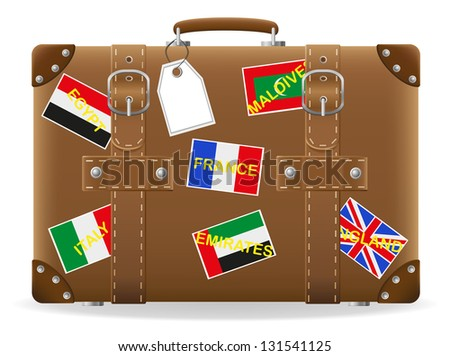 old suitcase for travel and label illustration isolated on white background