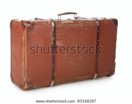 Old suitcase for traveling on a white background - stock photo