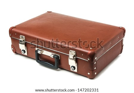old suitcase isolate on a white background - stock photo