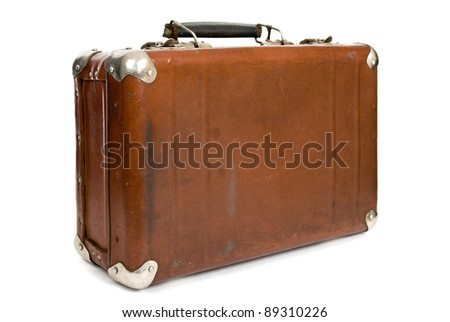Old suitcase isolated on a white background