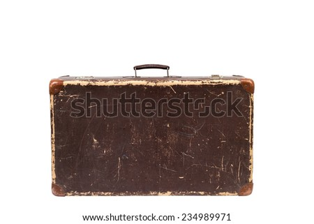 Old suitcase isolated on a white background. Vintage style.  - stock photo