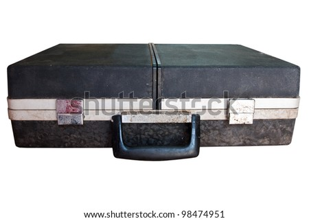 Old suitcase isolated on white with clipping path - stock photo