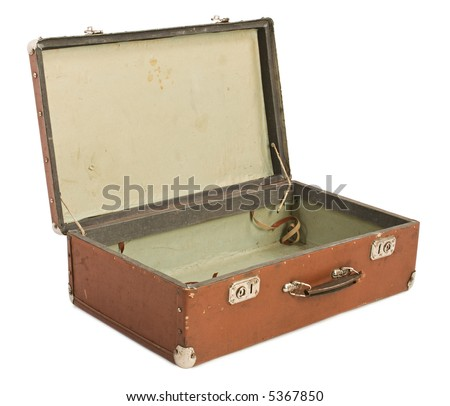 Old Suitcase open, isolated [with clipping path] - stock photo